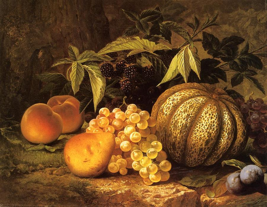 Natura morta con melone di William Mason Brown (1828-1898, United States) | Riproduzioni Di Qualità Del Museo | ArtsDot.com
