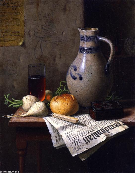 ancora la vita con brocca e le `newspaper, olio su tela di William Michael Harnett (1848-1892, Ireland)