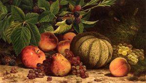 William Mason Brown - natura morta con melone , Uva ..