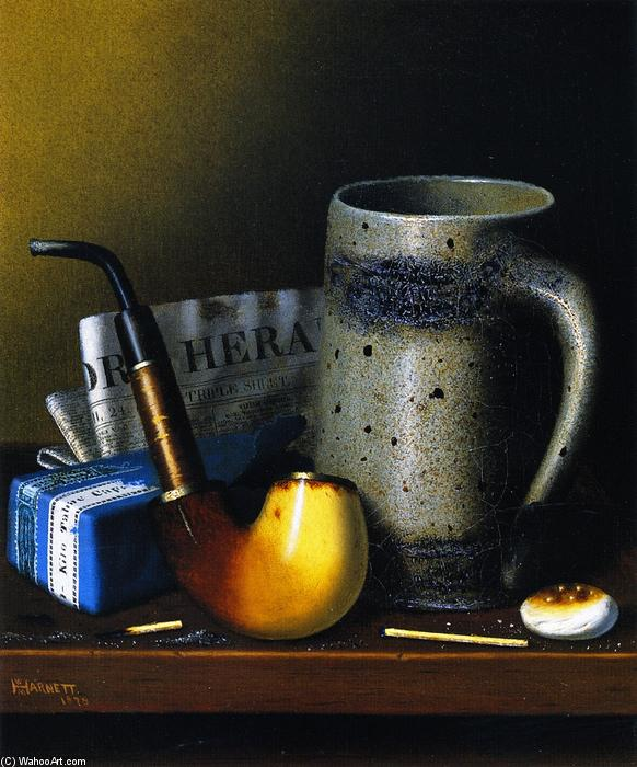 Still Life with Pipa and Nuovi York Herald, olio su tela di William Michael Harnett (1848-1892, Ireland)