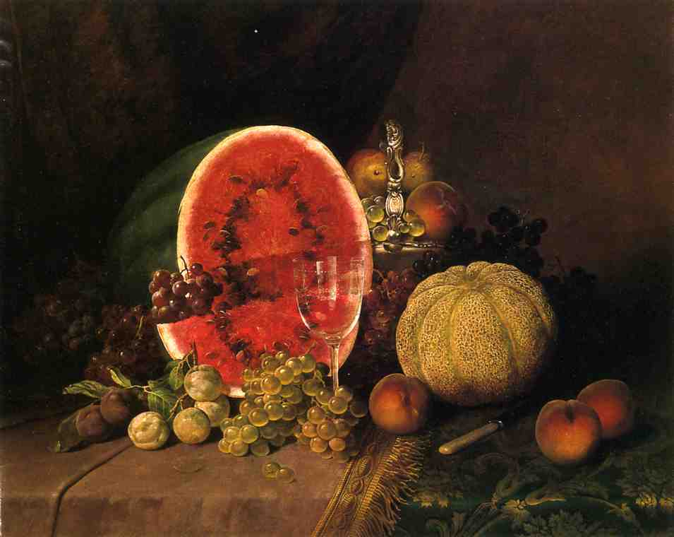 Still Life con anguria, uva, pesche, prugne e melone, olio su tela di William Mason Brown (1828-1898, United States)