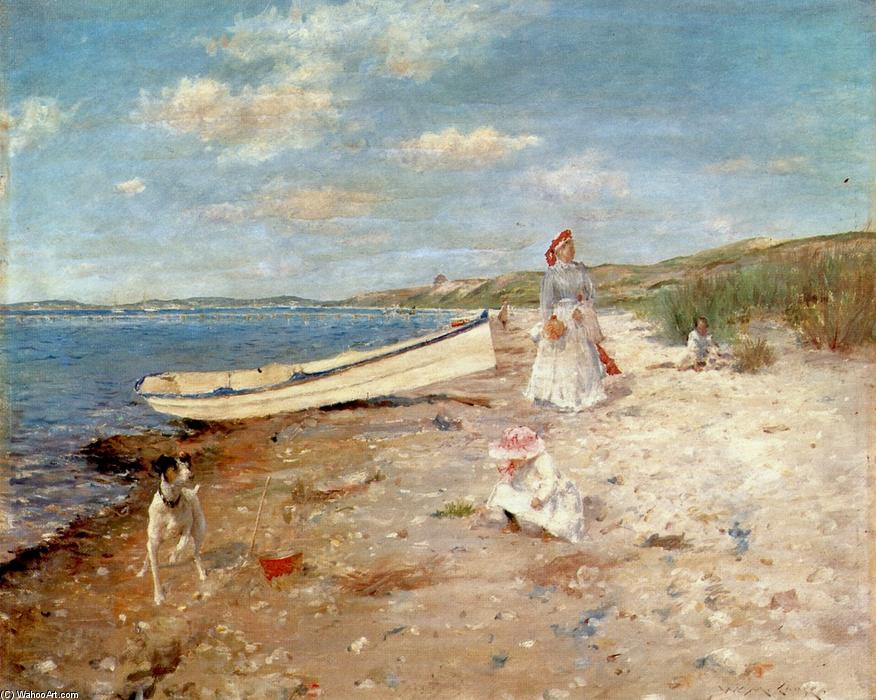 Sunny Day a Shinnecock Bay, olio su pannello di William Merritt Chase (1849-1916, United States)