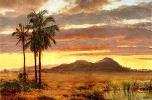 Louis Remy Mignot - Paesaggio tropicale