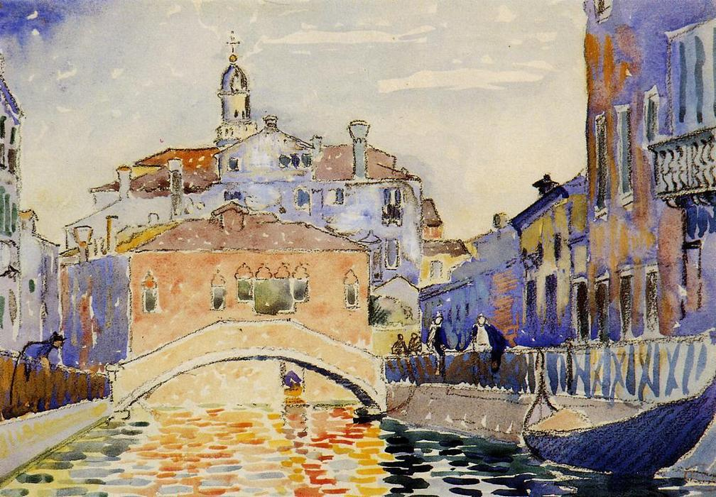 veneziano canale, acquerello di Henri Edmond Cross (1856-1910, France)