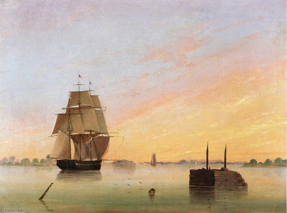 Vista sul Delaware, olio su tela di Thomas Birch (1779-1851, United Kingdom)
