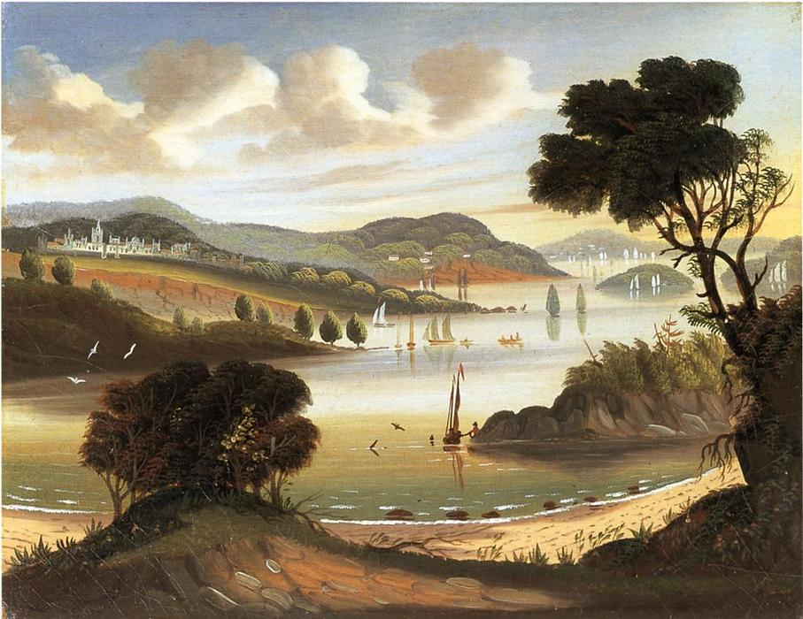 West Point on i Hudson Fiume, olio su tela di Thomas Chambers (1808-1869)