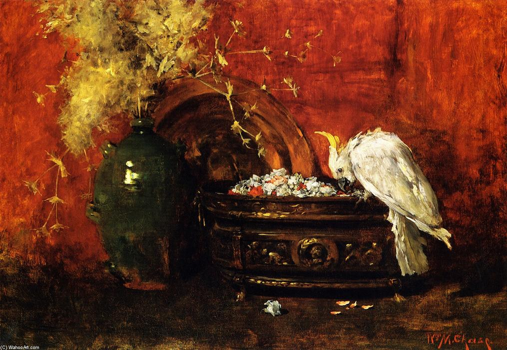 White Cockatoo, olio su tela di William Merritt Chase (1849-1916, United States)