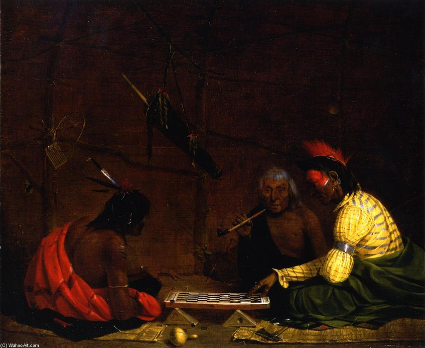 Winnebagos Playing Checkers, olio su tela di Charles Deas (1818-1867, United States)