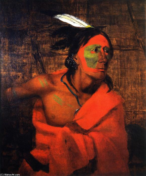 Winnebago (Wa-kon-chi-hi-re-ga) in una Bark Lodge, olio su tela di Charles Deas (1818-1867, United States)