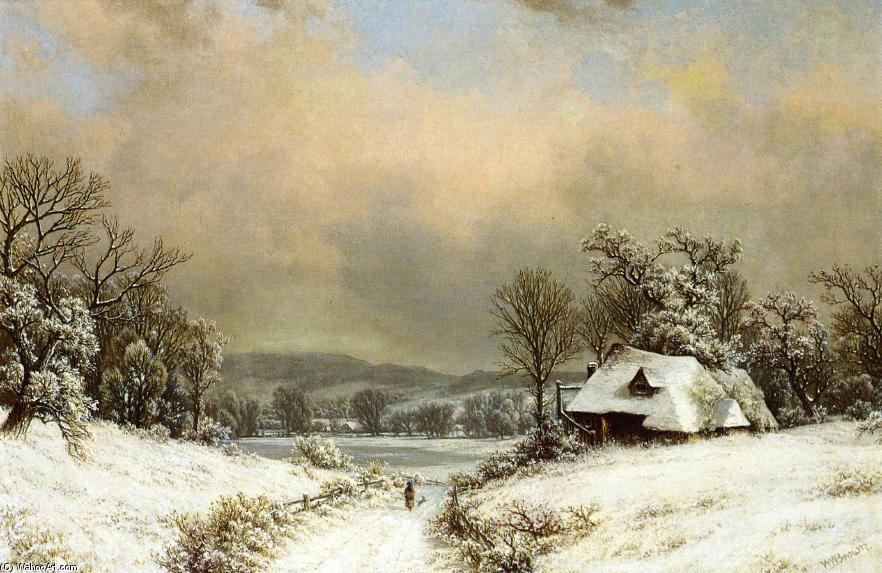 in inverno Antartico campagna, olio su tela di William Mason Brown (1828-1898, United States)