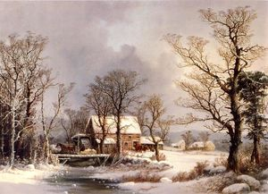 George Henry Durrie - Winter nel paese , il vec..