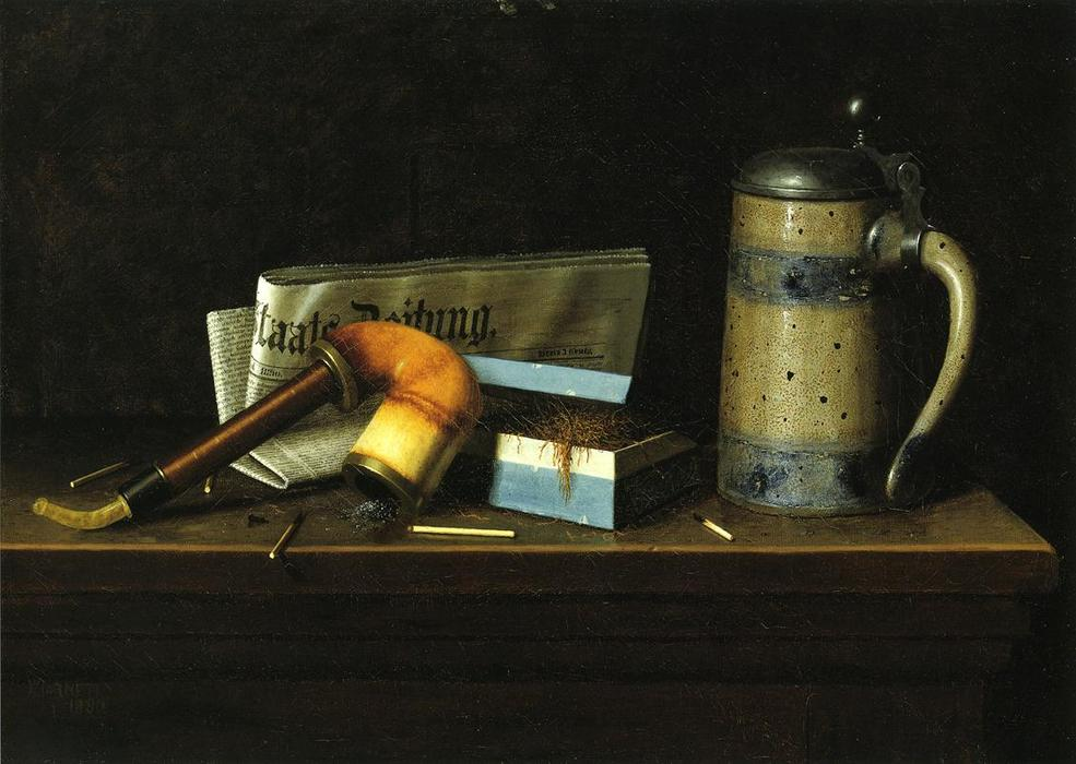 Con il Staatszeitung, olio su tela di William Michael Harnett (1848-1892, Ireland)