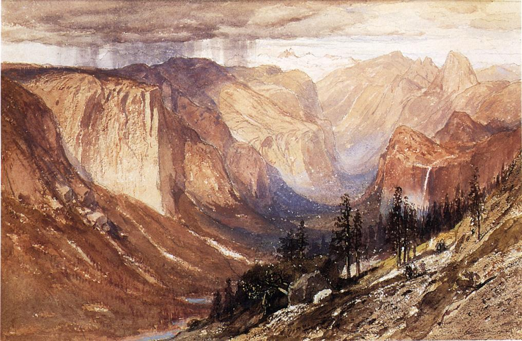 Yosemite Valle , In california, acquerello di Samuel Colman (1832-1920, United Kingdom)