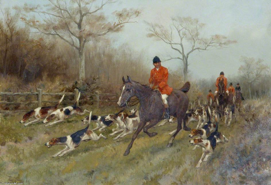 Cacciatori And Hounds in un Paesaggio boschivo di Thomas Blinks (1860-1912, United Kingdom)