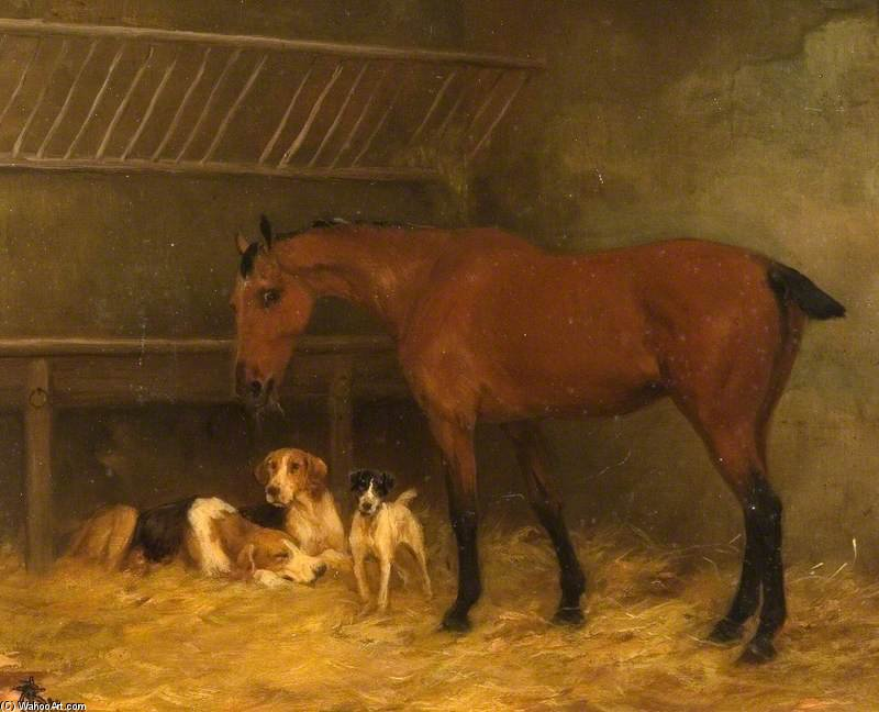 Little Bay Mare Con Docked Coda Mangiare Fieno Con Tre cani ai suoi piedi di Thomas Blinks (1860-1912, United Kingdom)