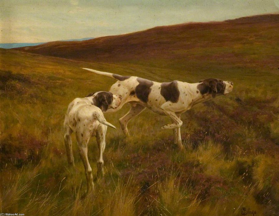 `pointers` in un paesaggio di Thomas Blinks (1860-1912, United Kingdom)