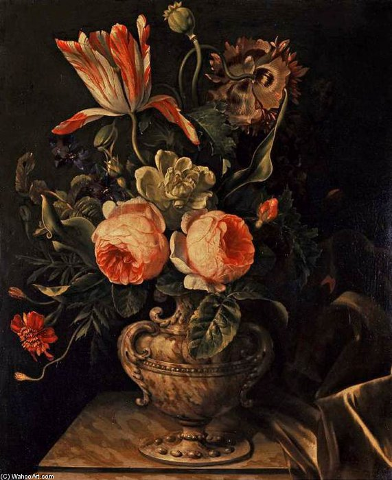 a vaso di fiori di Willem Van De Velde The Elder (1611-1693, Netherlands)
