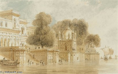 Ghats At Bithur di Thomas And William Daniell (1769-1837, United Kingdom)