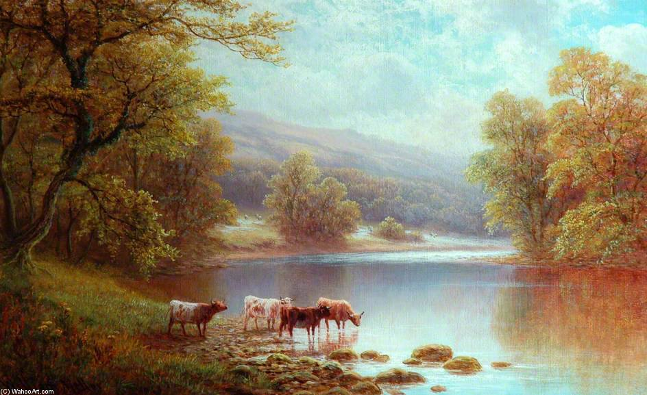 Sul Wharfe, Bolton Woods di William Mellor (1851-1931, United Kingdom)
