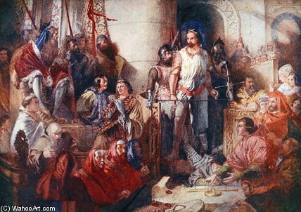 Il processo a Sir William Wallace a Westminster di Daniel Maclise (1806-1870, Ireland)