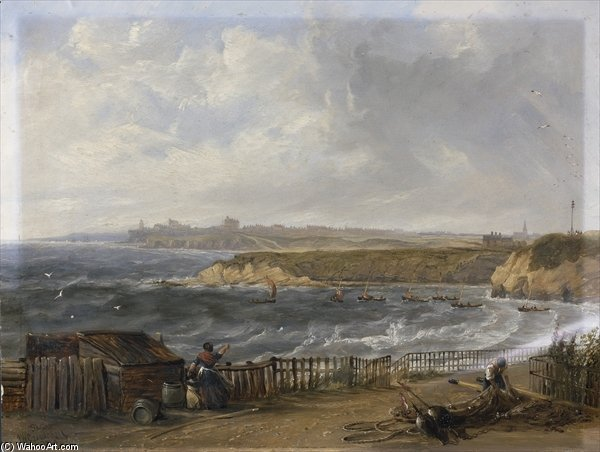 Cullercoats guardando verso Tynemouth - flood tide di John Wilson Carmichael (1800-1868, United Kingdom)