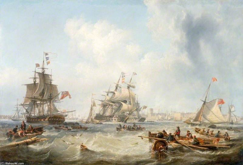 Men-of-war Via Portsmouth Porto di John Wilson Carmichael (1800-1868, United Kingdom)