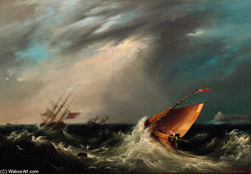 Equitazione Out A Gale di John Wilson Carmichael (1800-1868, United Kingdom)