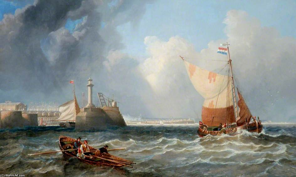 Spedizione Off West Hartlepool, Tees Valley di John Wilson Carmichael (1800-1868, United Kingdom)