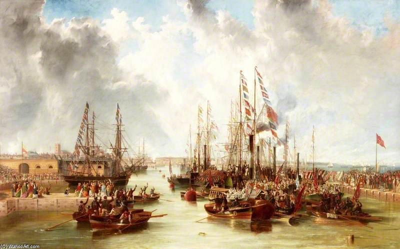 L apertura di Docks Sunderland South - di John Wilson Carmichael (1800-1868, United Kingdom)