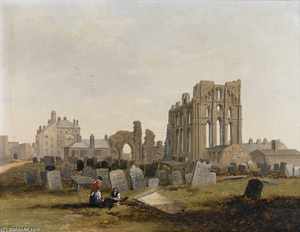 Tynemouth Priory From The East - di John Wilson Carmichael (1800-1868, United Kingdom)