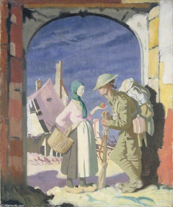 adam e vigilia a `péronne` di William Newenham Montague Orpen (1878-1931, Ireland)