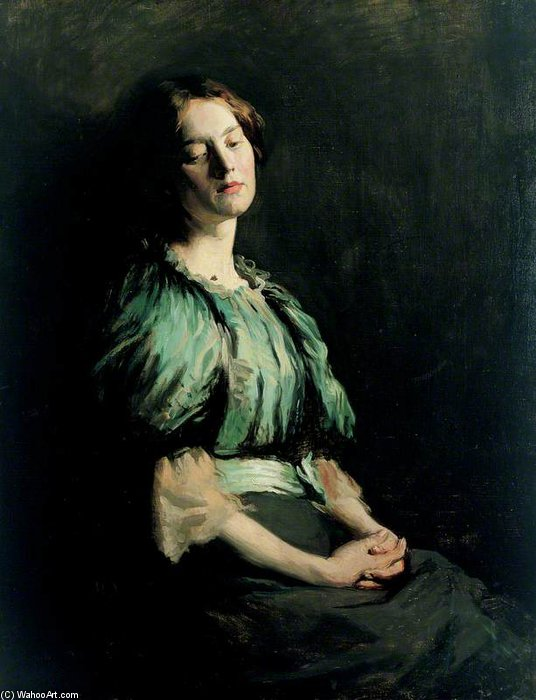 Ritratto di una ragazza indossare  Un  Verde  vestito  di William Newenham Montague Orpen (1878-1931, Ireland) | Copia Pittura | ArtsDot.com