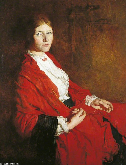 La sciarpa rossa di William Newenham Montague Orpen (1878-1931, Ireland)