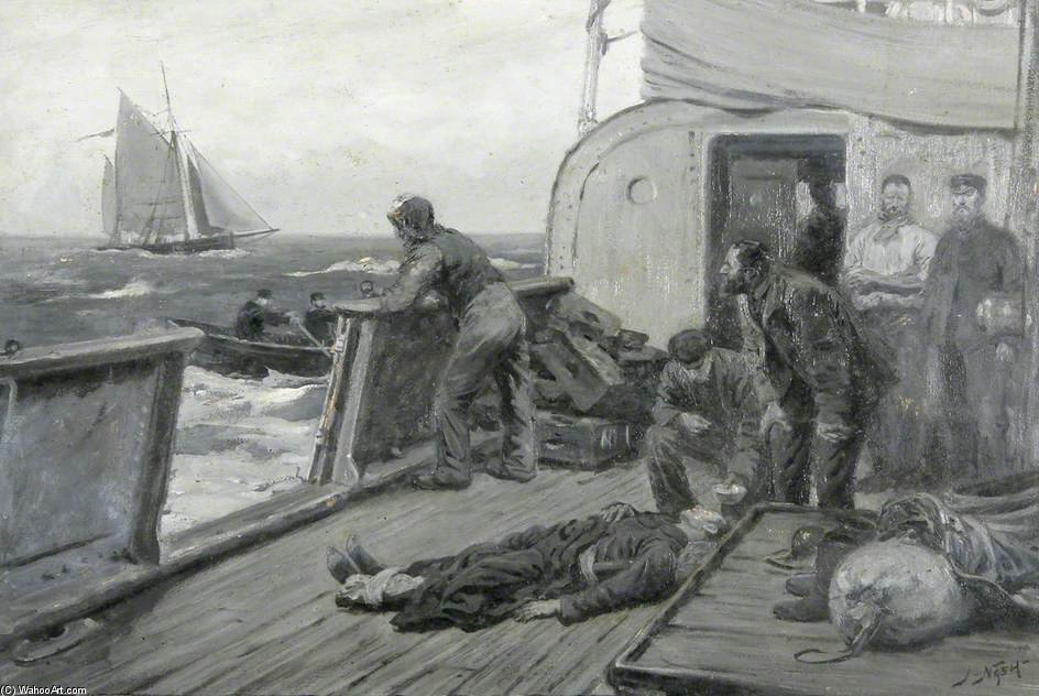 Casualty At Sea di Joseph Nash The Younger (1835-1922, United Kingdom) | ArtsDot.com