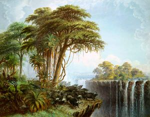 Thomas Baines - Bufali Driven To The Edge Of The Chasm Opposite Island Garden, Cascate Vittoria