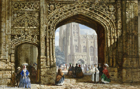 Canterbury Cattedrale di Louise Rayner (1832-1924, United Kingdom)