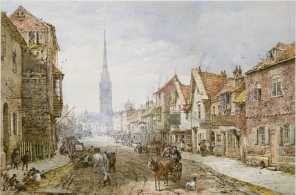 Castle Street, Salisbury di Louise Rayner (1832-1924, United Kingdom)