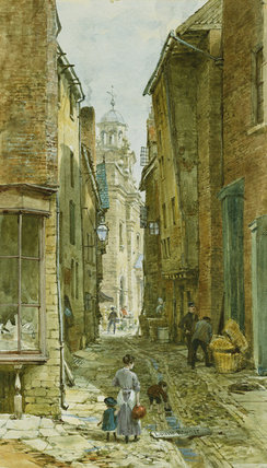 Cifre in Arpa Lane, Ludlow di Louise Rayner (1832-1924, United Kingdom)