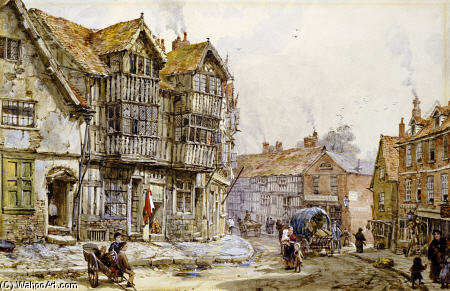 Vecchie Case, Shrewsbury di Louise Rayner (1832-1924, United Kingdom)