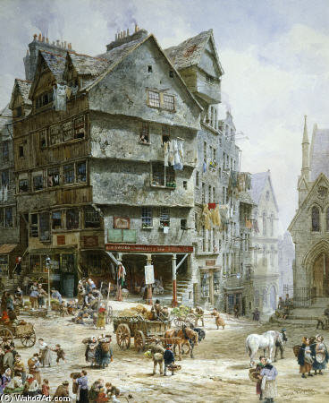 L High Street dalla prua West, Edimburgo - di Louise Rayner (1832-1924, United Kingdom)