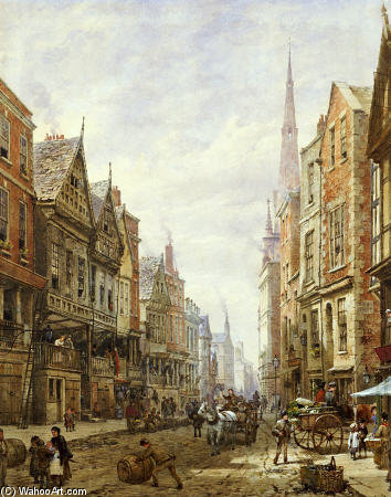 Watergate Street, Chester di Louise Rayner (1832-1924, United Kingdom)