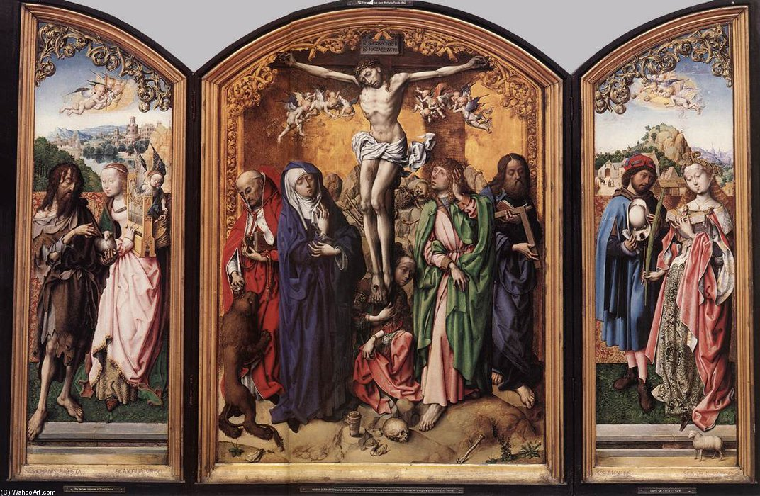 crocifissione pala daltare  di Master Of The St Bartholomew Altar (1450-1510, Germany)