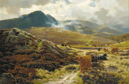 Highland Drovers Riposo di Henry Hadfield Cubley (1858-1934, United Kingdom)