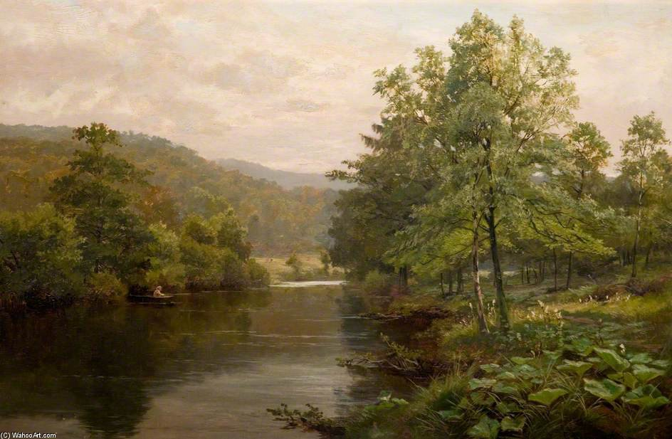 On The Derwent, Derbyshire di Henry Hadfield Cubley (1858-1934, United Kingdom)