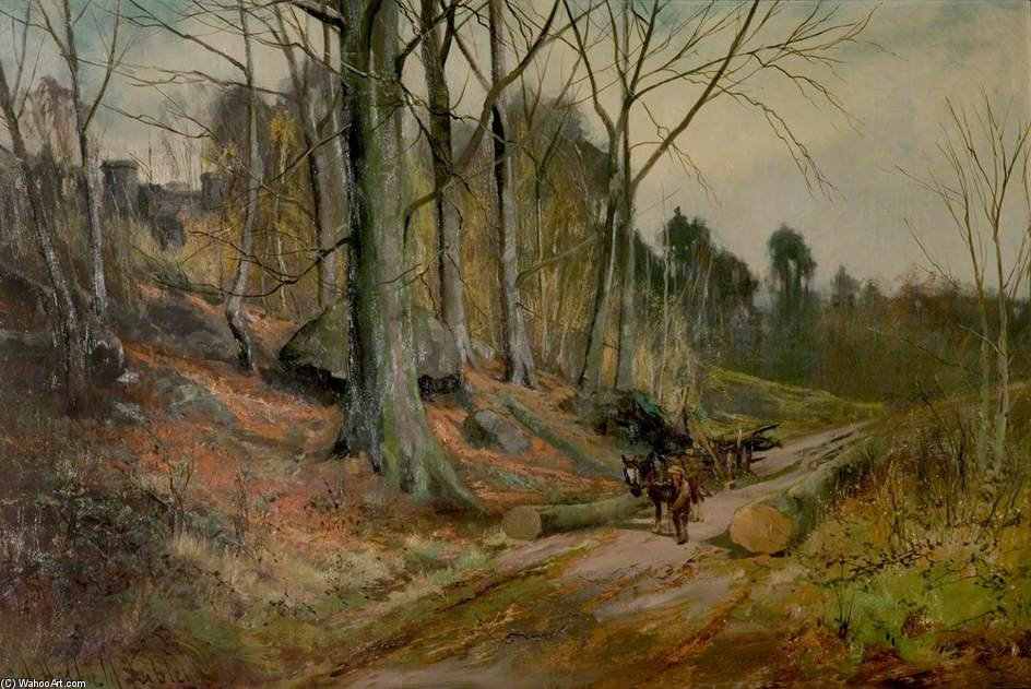 La Clearing Timber A Matlock, Derbyshire di Henry Hadfield Cubley (1858-1934, United Kingdom)