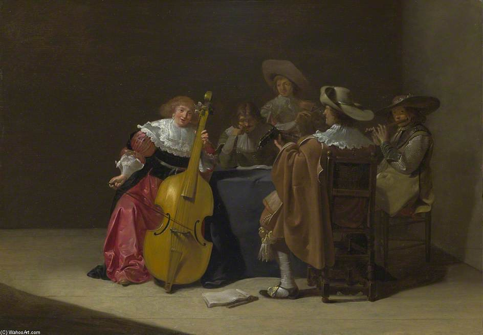 a musicale party di Jan Olis (1610-1676, Netherlands)