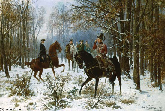 `duel` in un inverno mattino di Jan Van Chelminski (1851-1925, Poland)