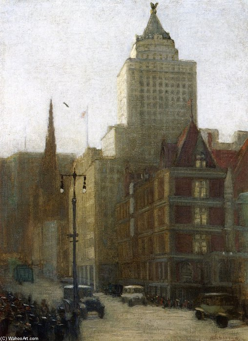 57th Street a Fifth Avenue di Aaron Harry Gorson (1872-1933, Lithuania)