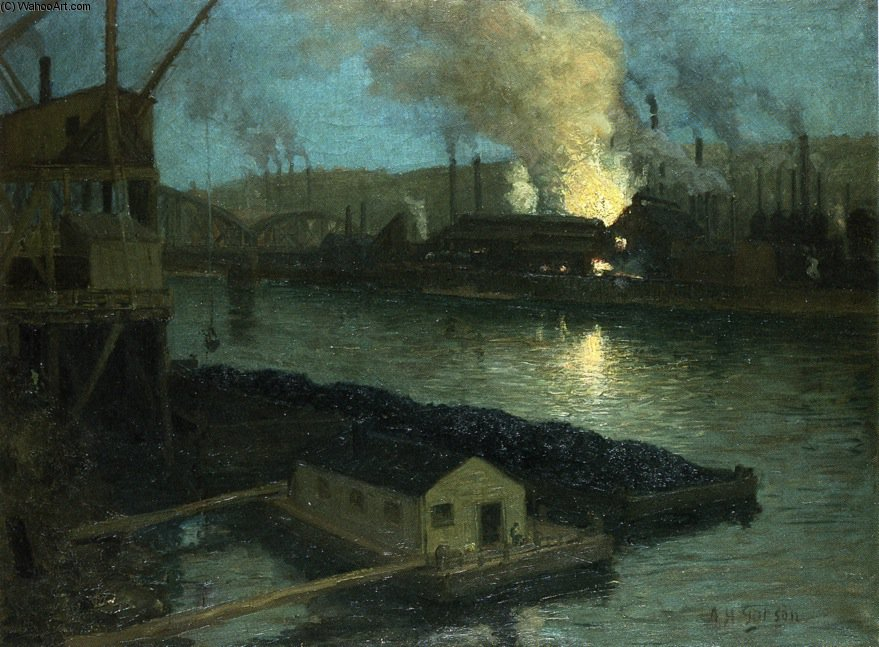 Pittsburgh Mills di notte di Aaron Harry Gorson (1872-1933, Lithuania)