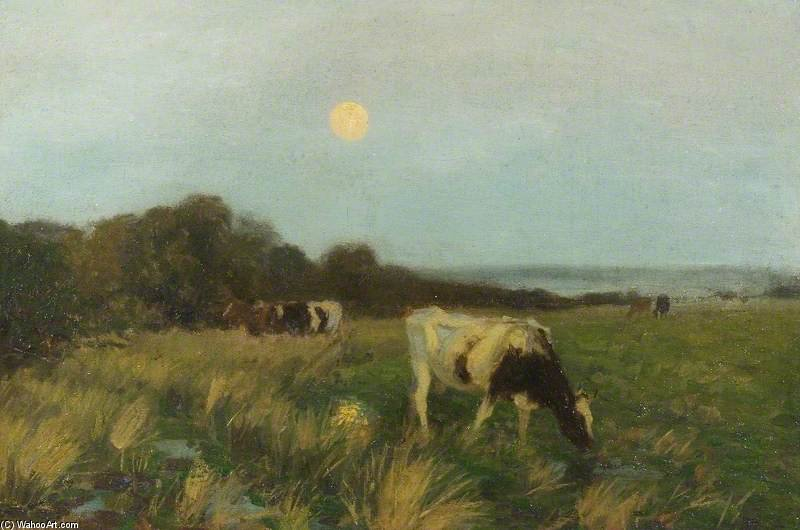 Bestiame In Moonlight di Algernon Talmage (1871-1939, United Kingdom)